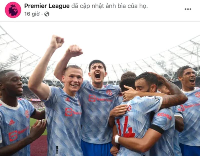 Trang Facebook chính thức của Premier League đã chọn ảnh cover là màn ăn mừng của Man United