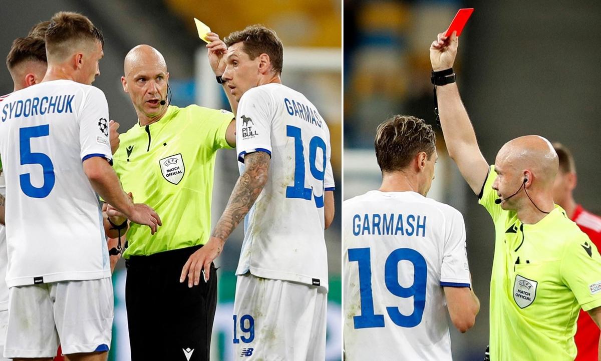 Trọng tài Anthony Taylor phạt nhầm thẻ đỏ cầu thủ của Dynamo Kyiv